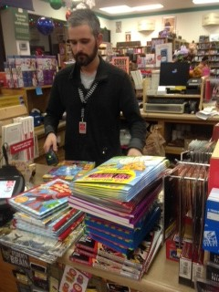 Purchasing books and toys for Toys for Tots