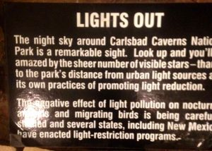 lights out display at Carlsbad Caverns