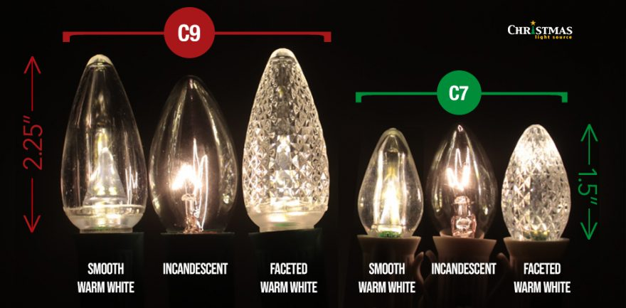What is the difference between C7 and C9 Christmas Bulbs?