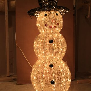 Photo of a lit snowman