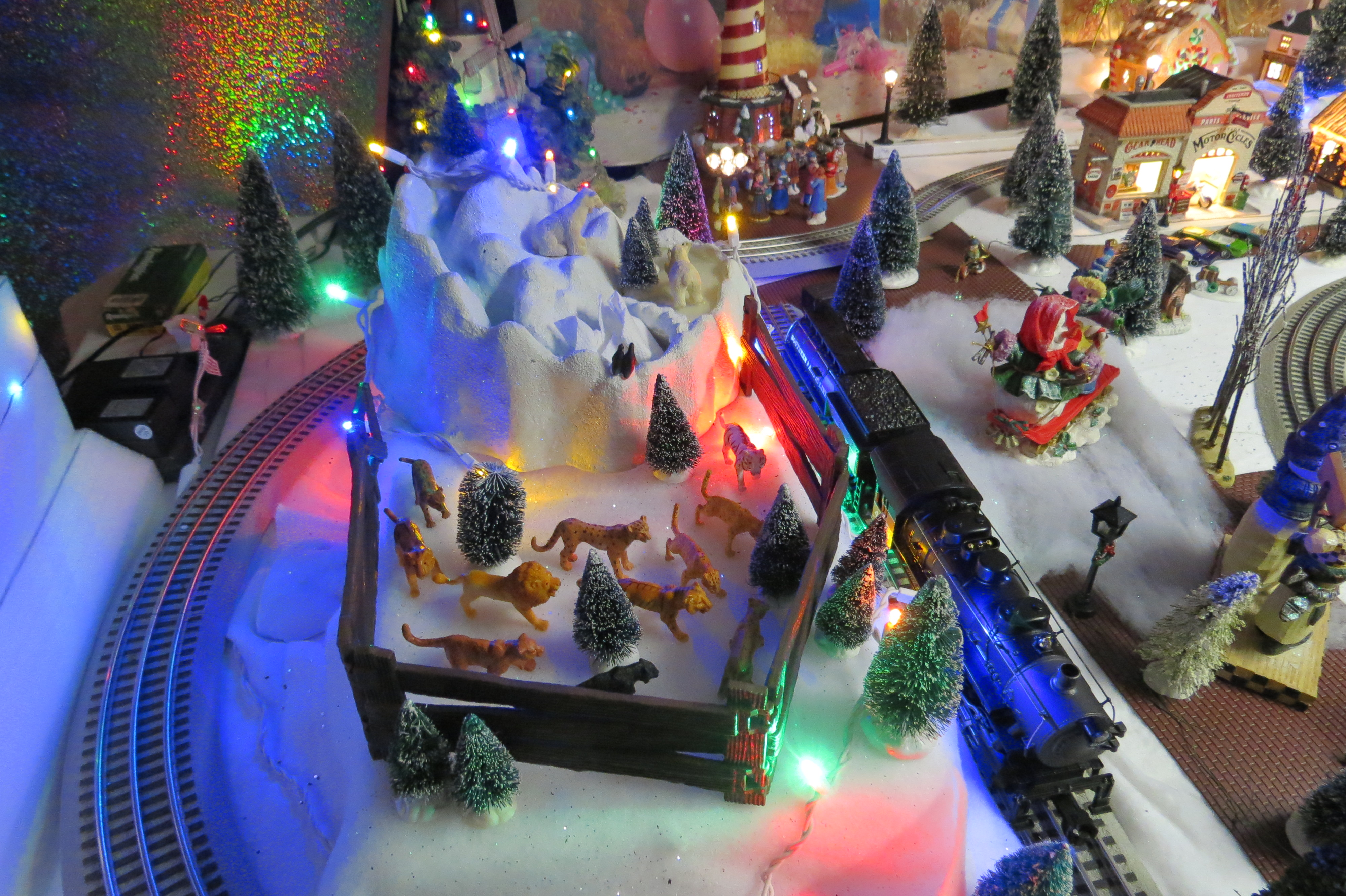 Lights in a model train village shellie at christmas light source