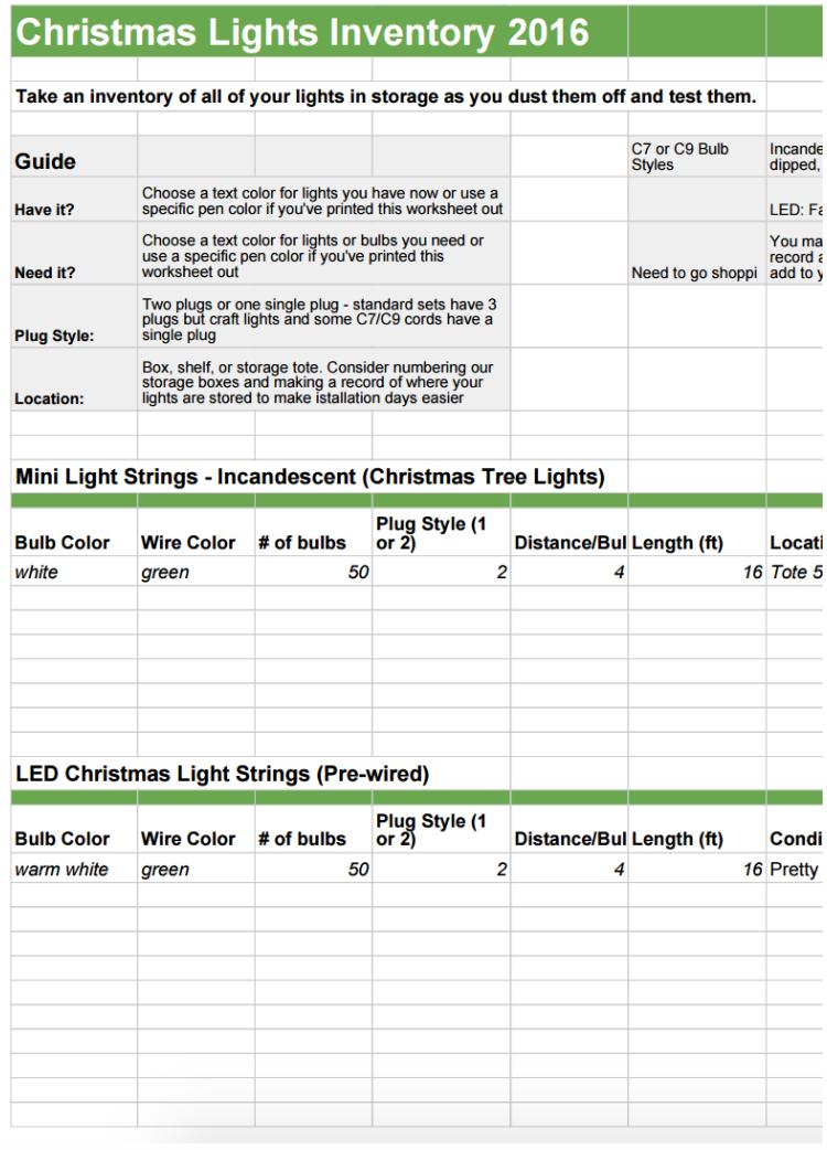 Christmas Lights Inventory