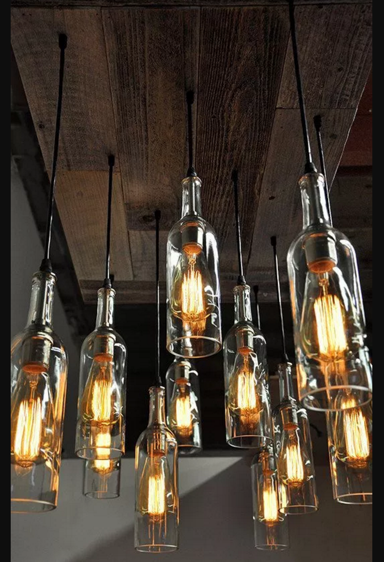 ... pendant cord with your wine bottles, repeat a few times and hang and  wire them through reclaimed wood to form a funky, rustic wine bottle  chandelier.