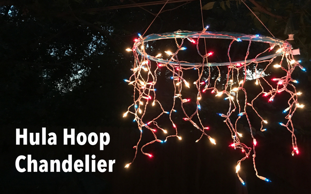 Sparkle under the stars always looking for different ways to use christmas lights we were intrigued by this easy do it yourself light chandelier we found on pinterest solutioingenieria Images