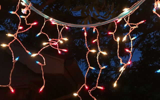 the red white and blue icicle lights are perfect for my july 4th party and i may consider leaving the chandelier up for other parties during the summer - Red White And Blue Christmas Lights