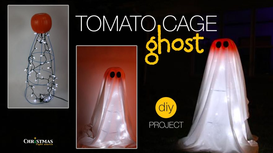 Halloween Crafts with Lights: Tomato Cage Ghost