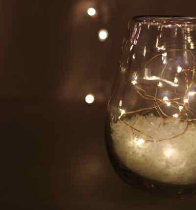 Battery lights, a vase and snow!