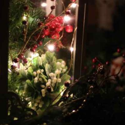 Easy Christmas Lantern Centerpiece with Greenery