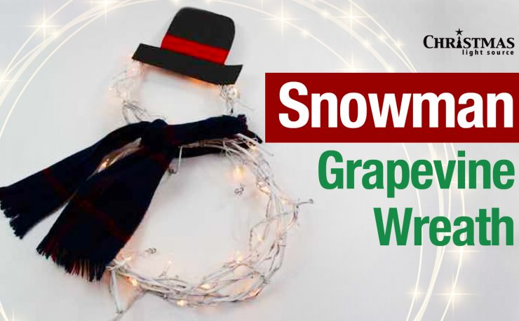 Snowman Grapevine Wreath - Light your entryway