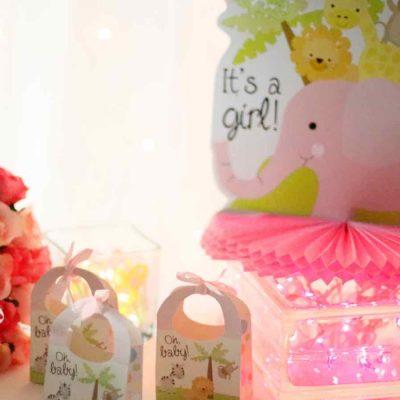 Baby Shower Glass Block Centerpiece