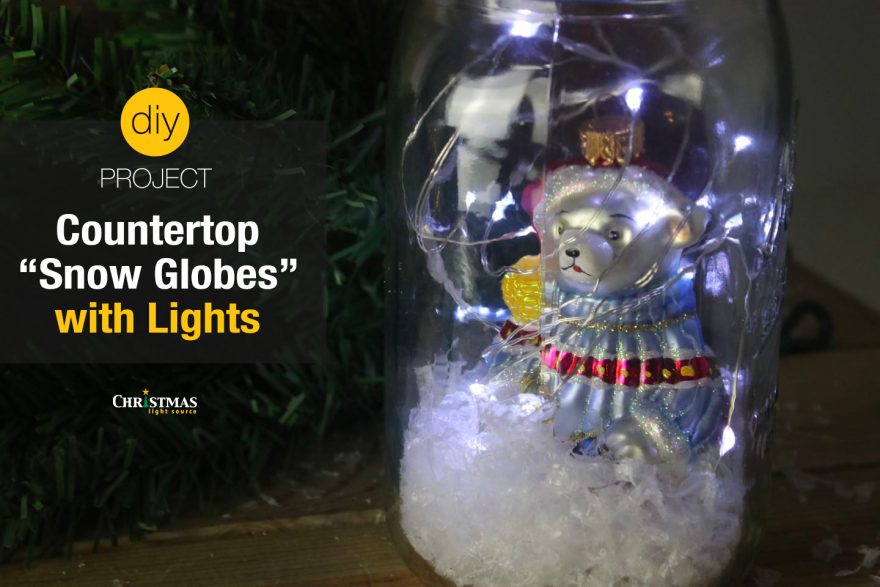 """DIY: Countertop """"Snow Globes"""" with Lights"""