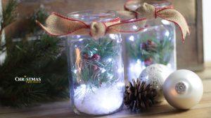 Christmas Mason Jars with Battery Lights