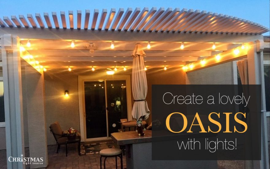Lights create a lovely oasis