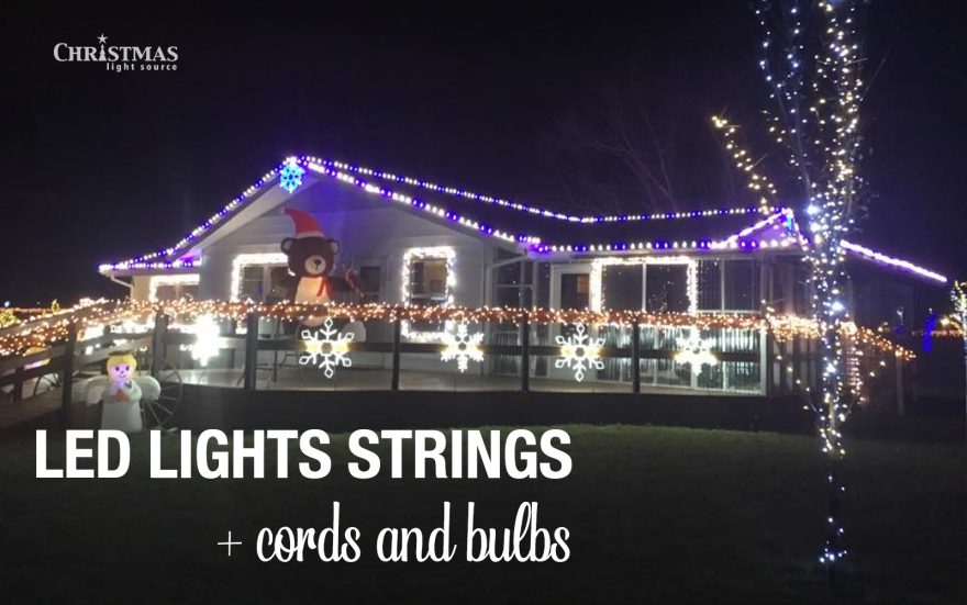 Customer uses both LED lights strings and cords and bulbs for their Christmas Lights Display