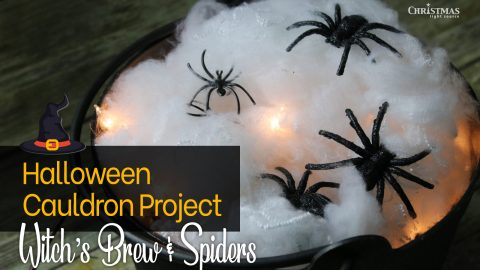 Lit Halloween Cauldron Project – Witch's Brew and Spiders!