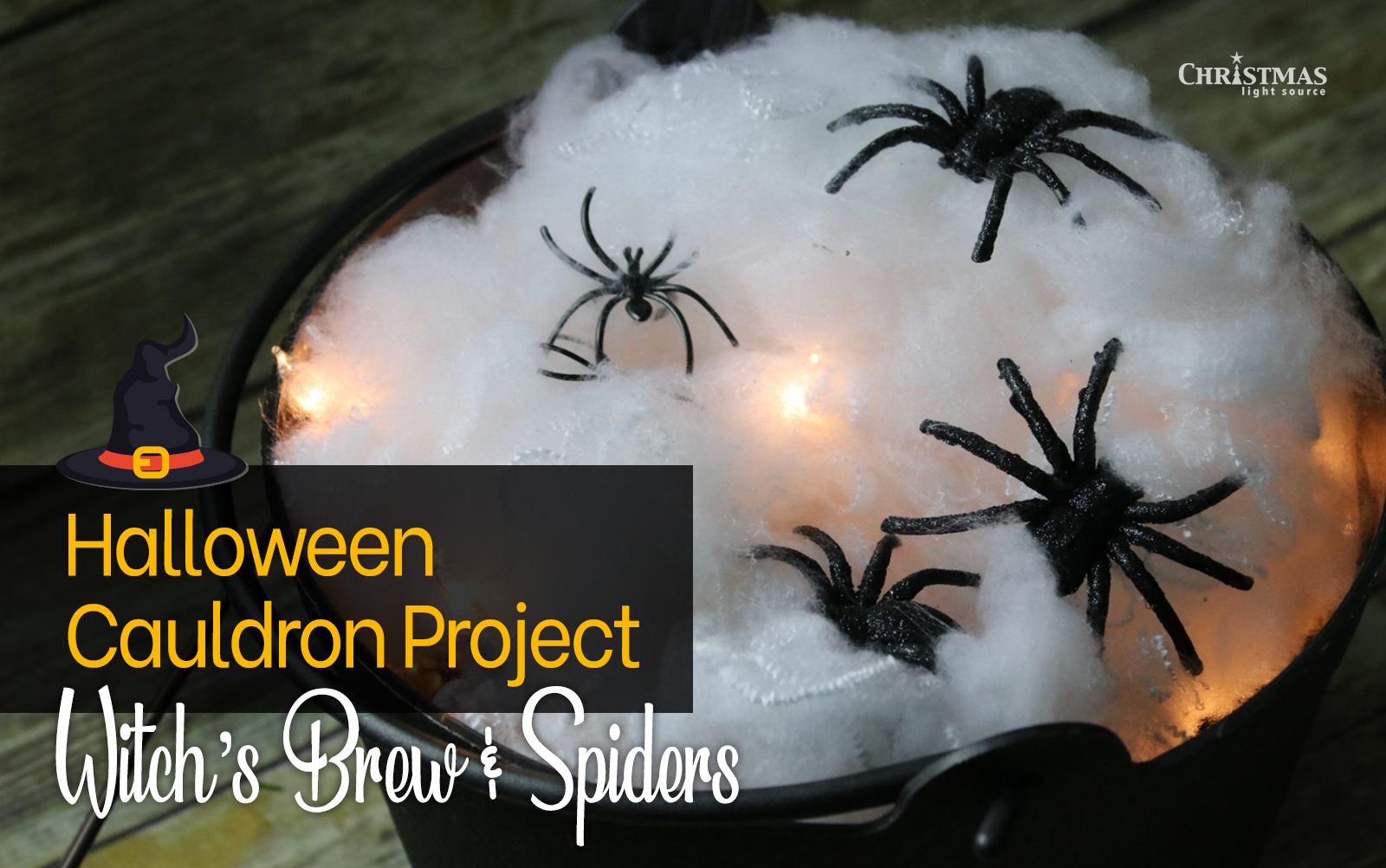 Halloween Three Witches Around Cauldron with Bubbling Potion//Brew Globe Lights