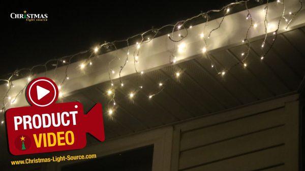 Warm white LED twinkle icicle lights