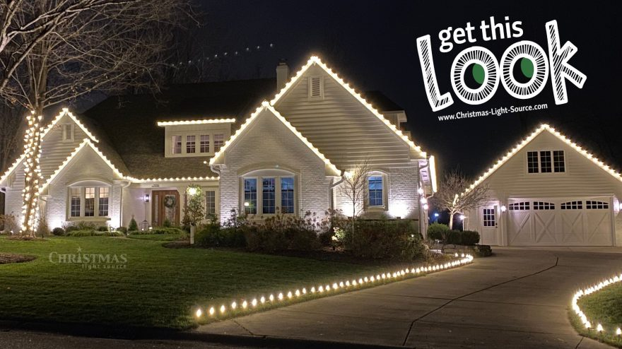 Get This Look: Stunning Christmas lights display outlining home and wrapping trees