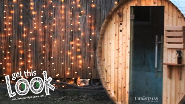 Backyard Sauna with Lights